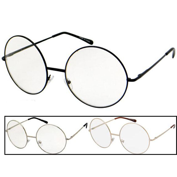 CLEAR LENS ROUND XXL FRAMES IN GOLD. SILVER & BLACK