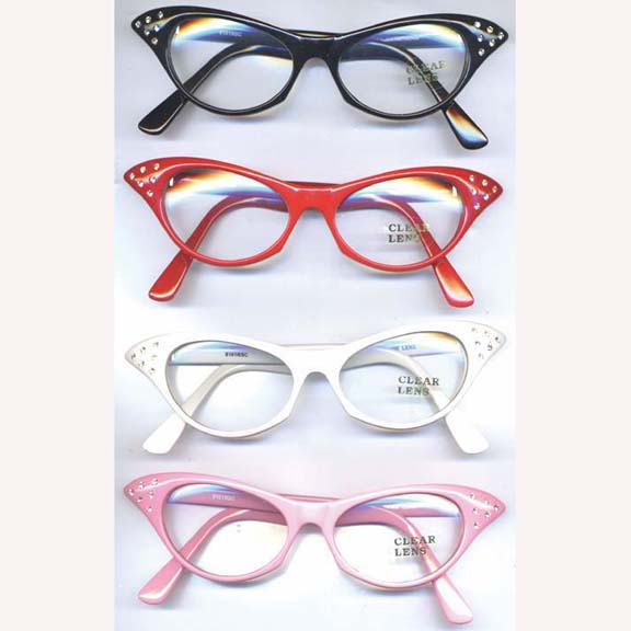 CLEAR LENS CAT EYE SUNGLASSES WITH  RHINESTONES IN CORNERS