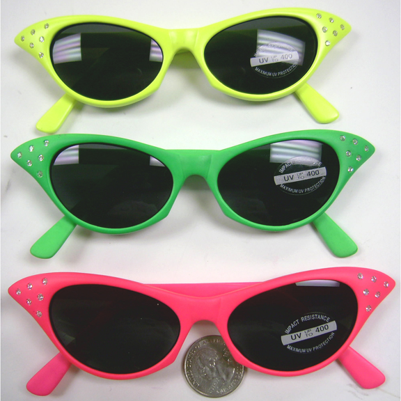 CAT EYE NEON COLOR SUNGLASSES 50'S STYLE WITH RHINESTONES