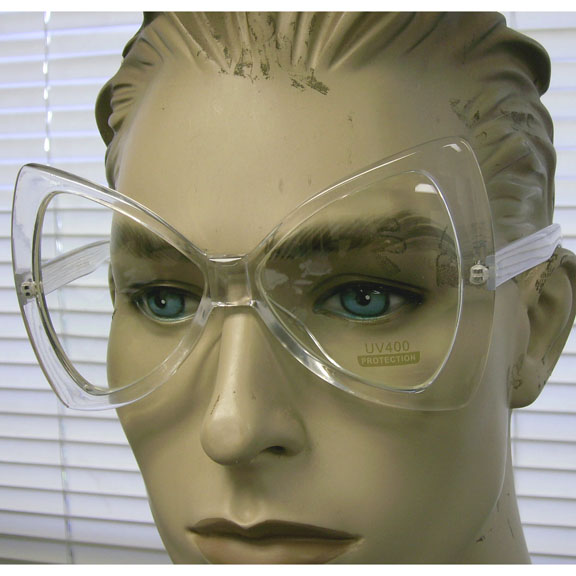 CLEAR LENS, CLEAR FRAMES LARGE BOWTIE SHAPE GLASSES