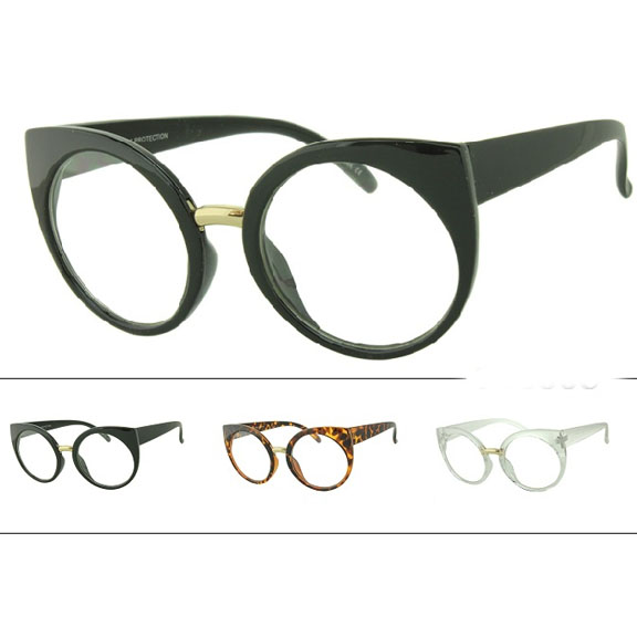 CLEAR LENS ROUND LENS CAT EYE LOOK GLASSES