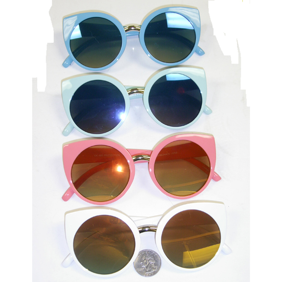 RETRO CAT SHAPE COOL COLORS, LARGE ROUND REVO LENS SUNGLASSES