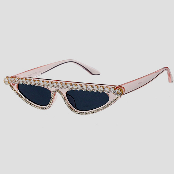 RHINESTONE TOP & BOTTOM SMALL CAT FLAT TOP SUNGLASSES