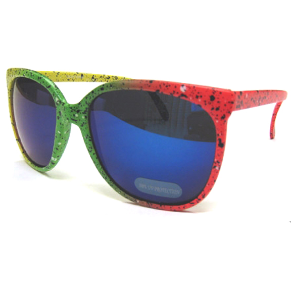 NEON COLORS 80&#39S STYLE SUNGLASSES WITH SPLATTER