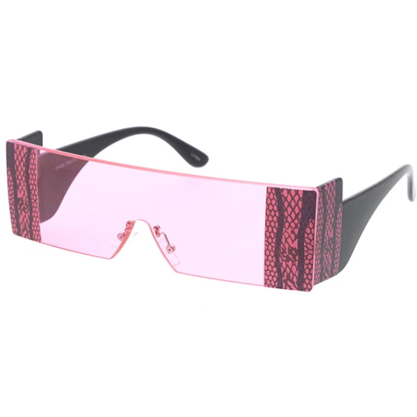 ASSORTED COLOR SUNGLASSES WITH LACE LOOK EDGES, FUNKY