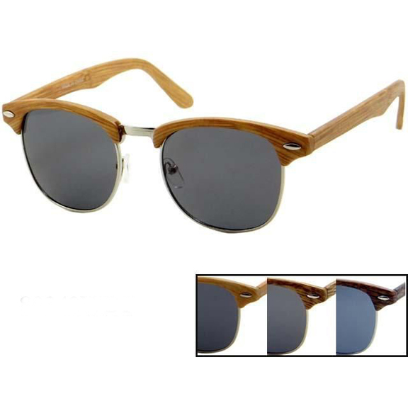 SOHO STYLE WOOD LOOKING FRAMES DARK LENS SUNGLASSES