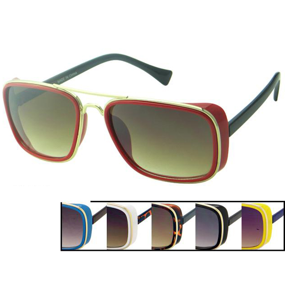 FUNKY SUNGLASSES IN ASSORTED COLORS WITH SIDE SHIELD
