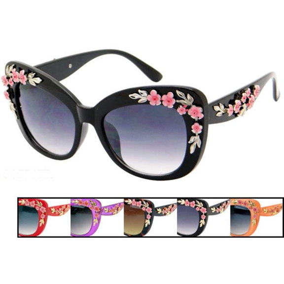 FLOWERS ON SUNGLASSES ASSORTED COLORS, RETRO LOOK
