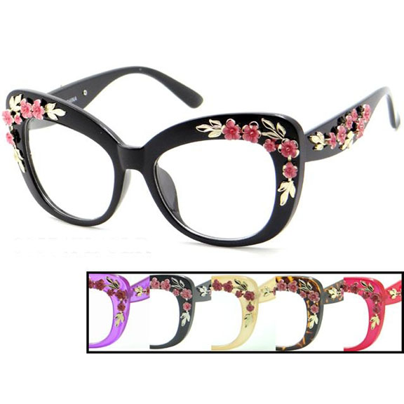 CLEAR LENS  LARGE FRAMES GLASSES WITH FLOWERS EMBELLISHMENTS