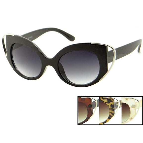 CAT LIKE SUNGLASSES WITH METAL BEND END