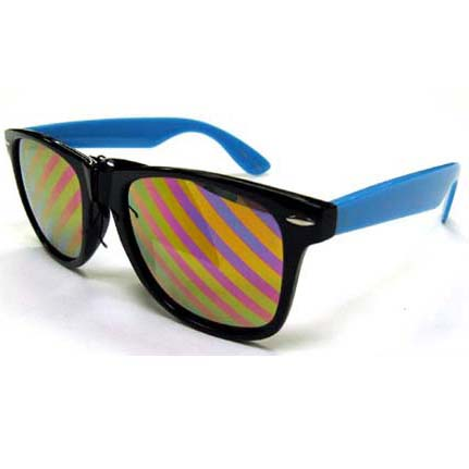 BLUES BROTHERS SUNGLASSES WITH DIAGONAL LINES ON REVO LENS