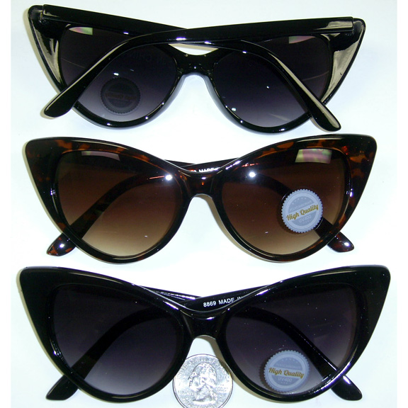 CAT EYE SHAPE SUNGLASSES, BLACK AND TORTOISE FRAMES