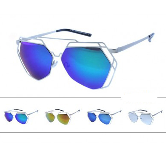 AVIATOR STYLE ANGULAR FEATURES WITH METAL BORDERS & REVO LENS