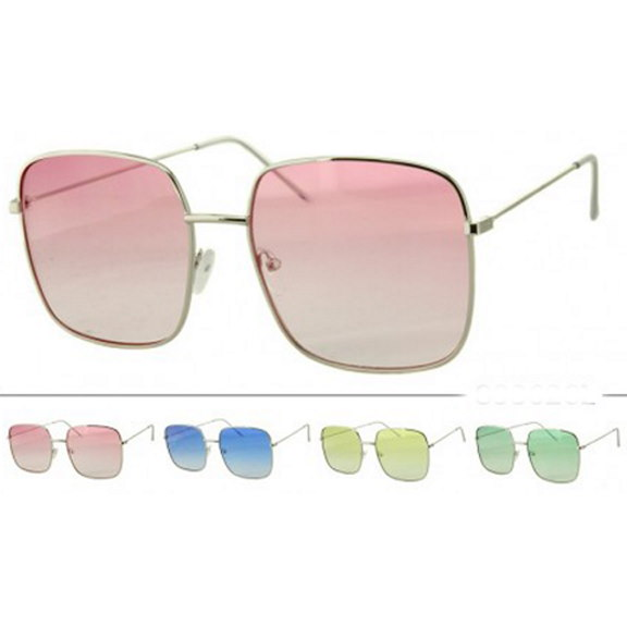 LARGE RECTANGULAR SHAPE ALL SILVER FRAMES WITH COLOR LENSES