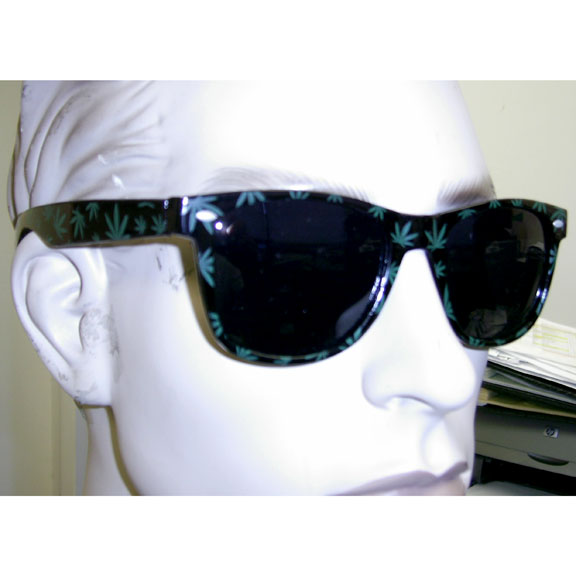 BLUES BROTHERS FRAMES WITH GREEN POT LEAFS SUNGLASSES