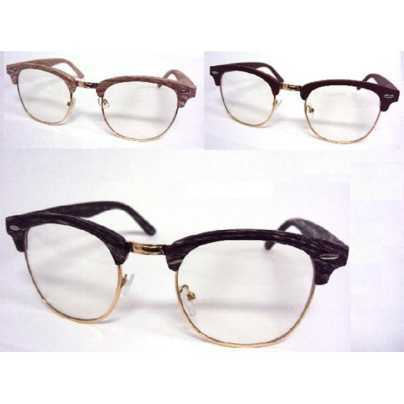 CLEAR LENS SOHO STYLE GLASSES WITH TOP PART WOOD LOOK