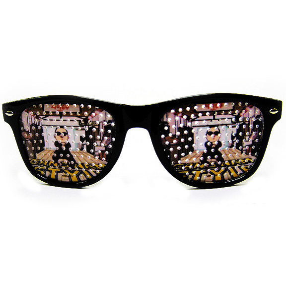 GANGNAM STYLE PRINT LENS SUNGLASSES BLUES BROTHERS STYLE