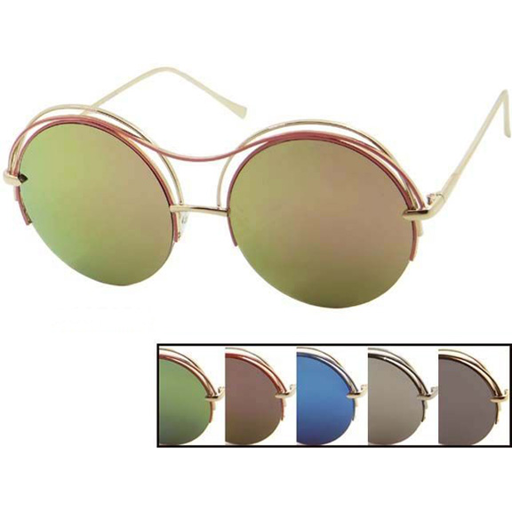 LARGE ROUND REVO LENS WITH 2 BANDS OF METAL TOP SUNGLASSES