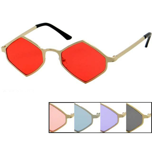 DIAMOND SHAPE LENNON STYLE FLAT FRAMES COLOR LENS SUNGLASSES