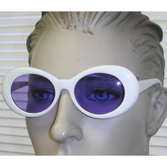 JACKIE O SUNGLASSES, ALL WHITE FRAMES, 5 ASSORTED COLOR LENS