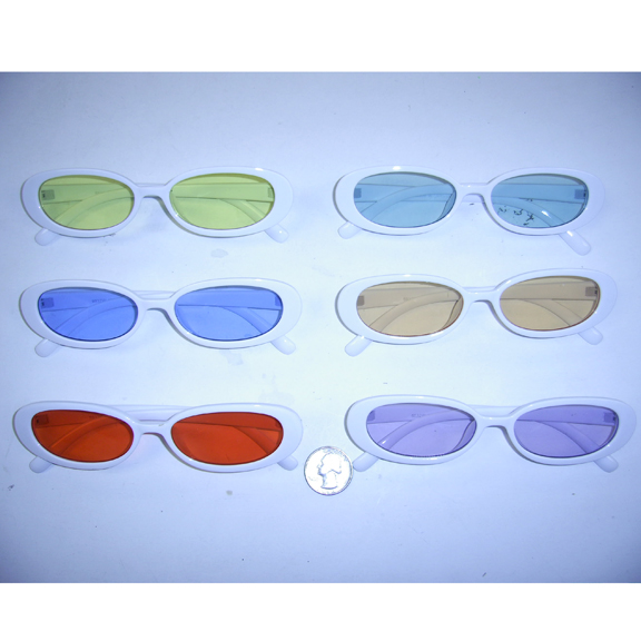 WHITE FRAMES, SMALL FRAME JACKIE O TYPE FRAMES WITH COLOR LENSES