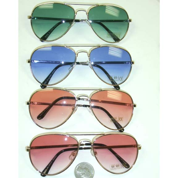 AVIATOR SUNGLASSES WITH 4 COLOR LENSES THAT FADE LIGHTER
