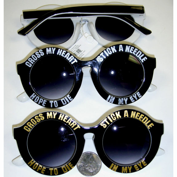 """CROSS MY HEART... SAYING ON SUNGLASSES ROUND SHAPE"