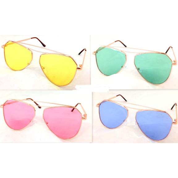COLOR LENS AVIATOR TRENDING METAL FRAMES SUNGLASSES