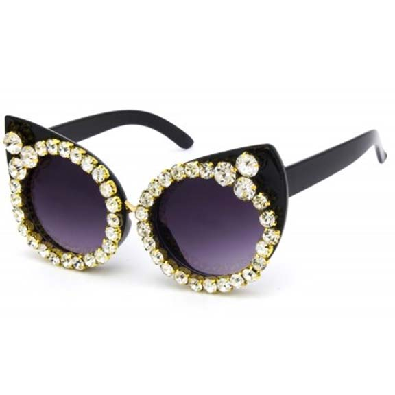 CAT LOOK SUNGLASSES WITH LARGE RHINESTONES