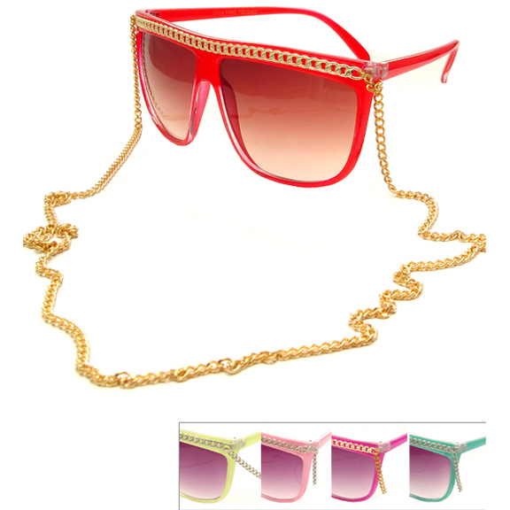 80'S CHAIN TOP AND NECKLACE ASST FUN COLOR SUNGLASSES