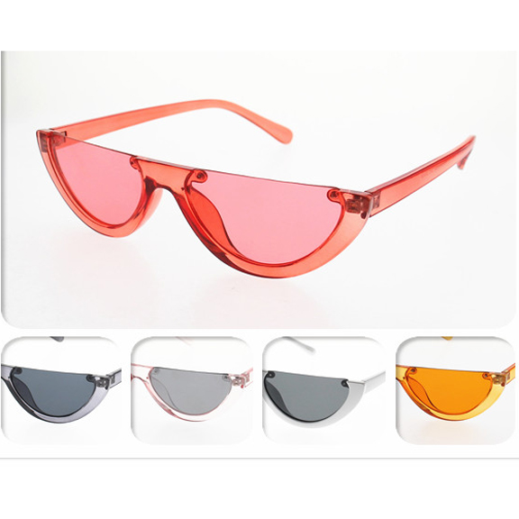 FLAT TOP, CURVE BOTTOM SMALL FRAME SUNGLASSES, COOL COLORS
