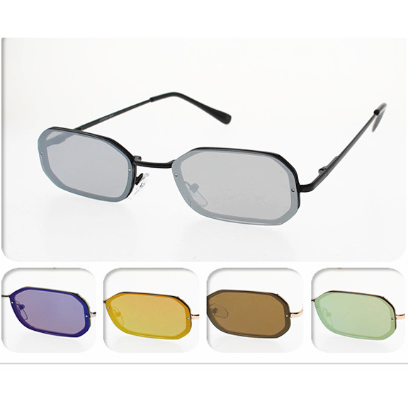 REVO LENSES, SMALL ALMOST FLAT FRAMES, SPRING TEMPLE SUNGLASSES