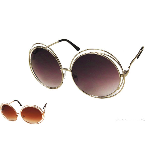 LARGE ROUND METAL FRAME SUNGLASSES, DOUBLE WRAP