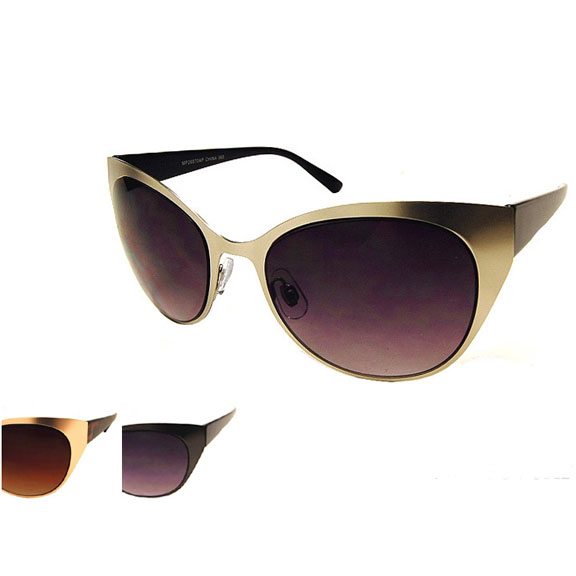 METAL FRONT, PLASTIC ARMS CAT TRENDING LOOK SUNGLASSES