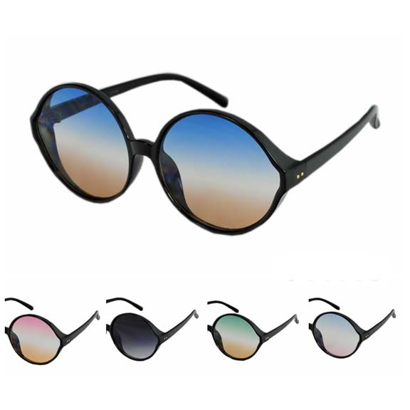 EXTRA LARGE ROUND BLACK FRAMES WITH OCEAN LENS SUNGLASSES