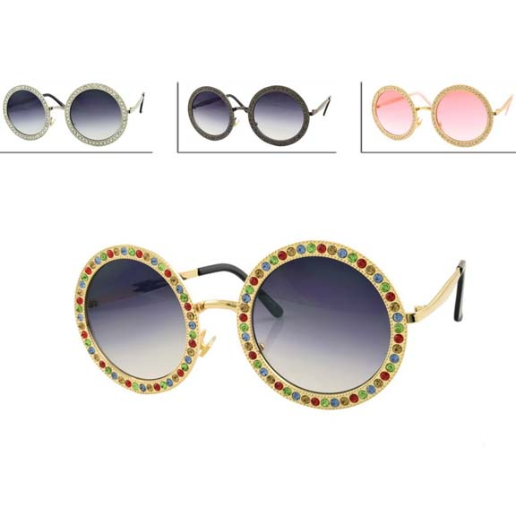 ROUND METAL FRAMES POPSTAR 2018 FASHION W/ GEMS