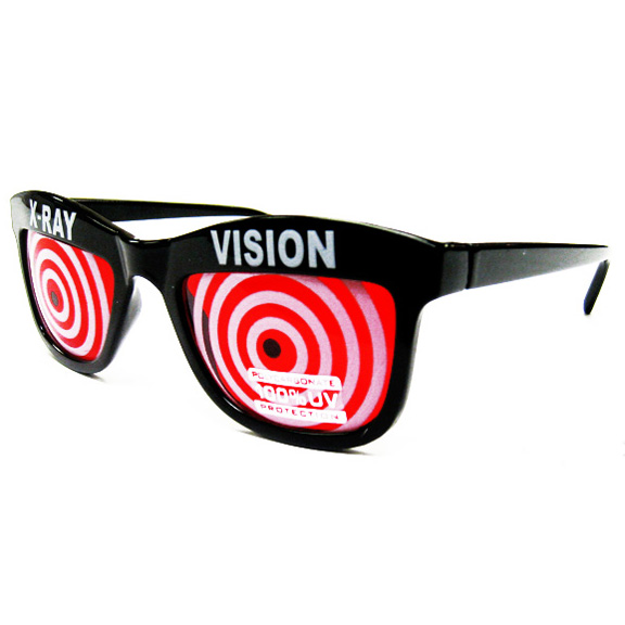 X-RAY VISION SUNGLASSES WITH SWIRL TUNNEL EFFECT