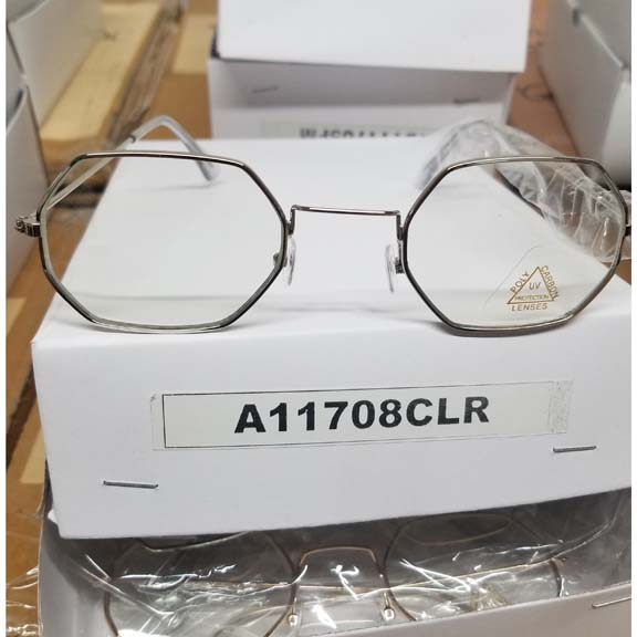 CLEAR LENS 6 SIDED METAL FRAMES GKASSES