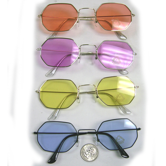 6 SIDED JOHN LENNON LOOKING SUNGLASSES WITH COLOR LENSES