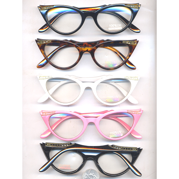 CLEAR RETRO CAT EYE GLASSES  W/GEMS/LINES