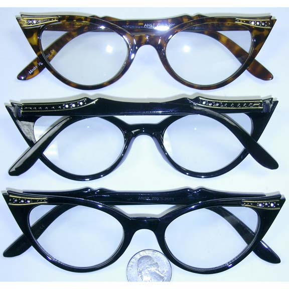 CLEAR RETRO CAT EYE GLASSES  W/GEMS LOOK  W /LINES