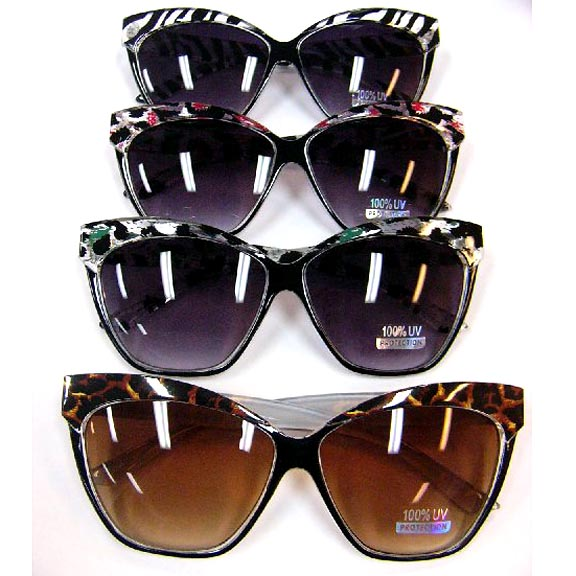 ANIMAL PRINT TOP RETRO LARGE LADIES HIP SUNGLASSES