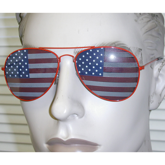 AVIATOR FRAMES WITH AMERICAN FLAG IN LENS, RED,WHITE, & BLUE