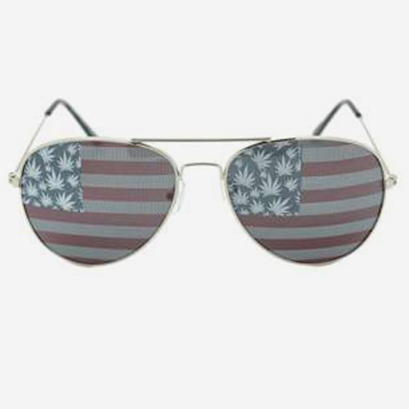 AVIATOR SUNGLASSES WITH USA FLAG AND POT LEAVES