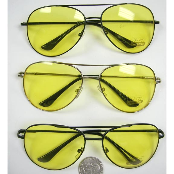YELLOW LENS METAL AVIATORS WITH SPRING TEMPLES