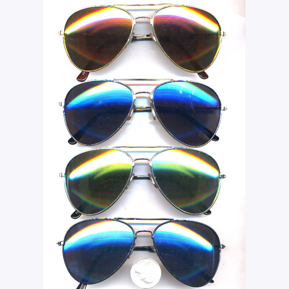 AVIATOR SUNGLASSES WITH LASER COLOR LENSES