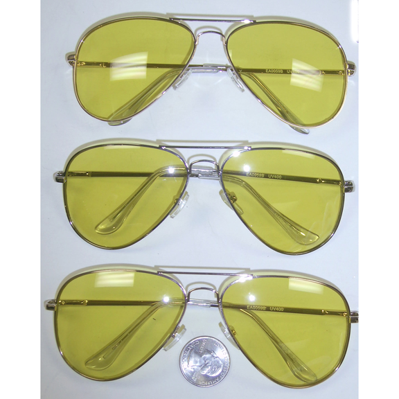 AVAIATORS ALL YELLOW LENS SUNGLASSES, SPRING TEMPLE QUALITY