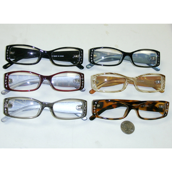 CLEAR LENS SMALL FRAMES IN ASSORTED COLORS AND GEMS ON SIDE
