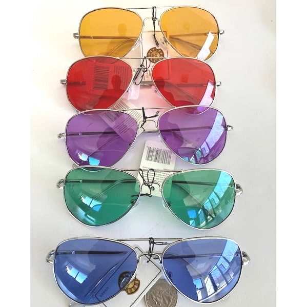 AVIATORS, COLOR LENSES, SILVER FRAMES, SPRING TEMPLE QUALITY