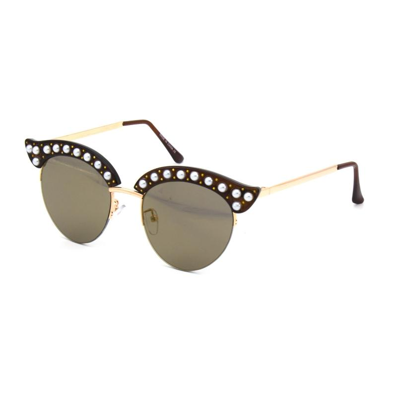 PEARL LIKE LINED CURVED TOP FUNKY SUNGLASSES